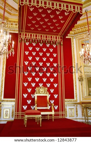 Throne of Polish king. Royal castle in Warsaw. World Heritage List UNESCO.