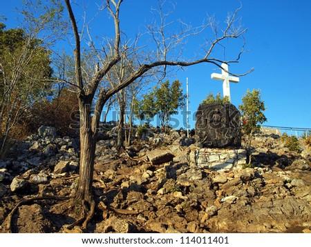 Through the cross of life, Krizevac Mediugorie - stock photo