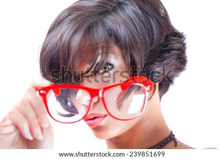 Through the glasses - stock photo