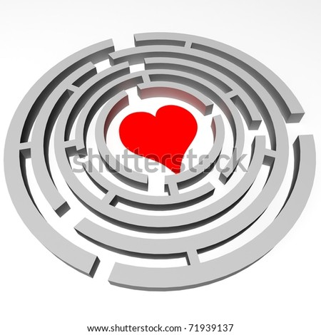 throughout the maze in the center which is located the heart - stock photo