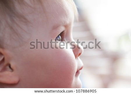 Throught the eyes of a girl child, natural light - stock photo
