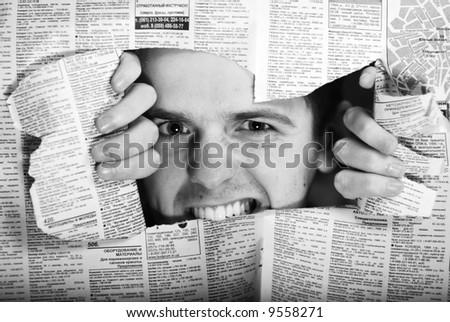 Throw newspaper black - stock photo