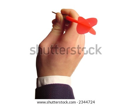Throwing a darts arrow - business oriented - stock photo