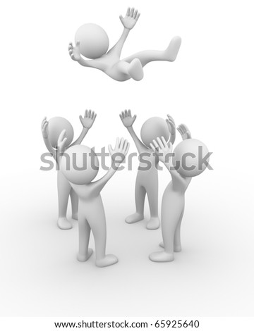Throwing a man - stock photo