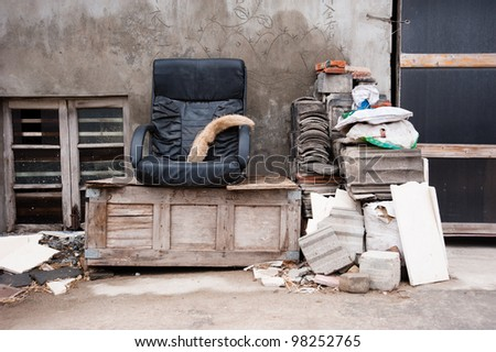 Thrown out home furniture - stock photo