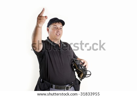 Thrown Out - Professional baseball umpire on white background - stock photo