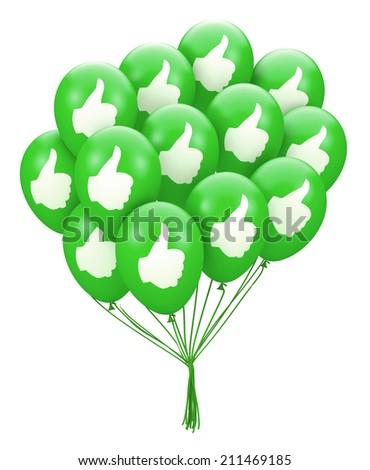 thumb balloon 3d render - stock photo