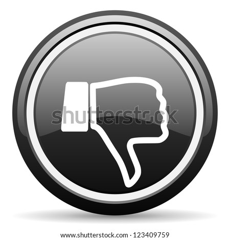 thumb down black glossy icon on white background - stock photo
