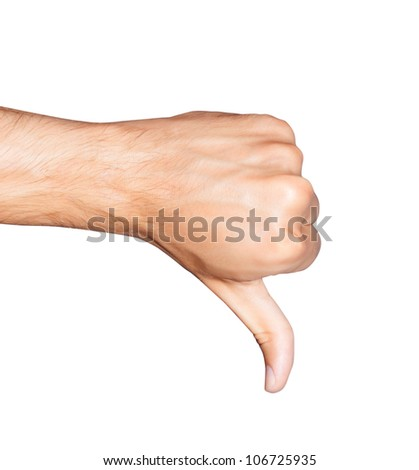 Thumb down. Close up of man's hand with thumb down - stock photo