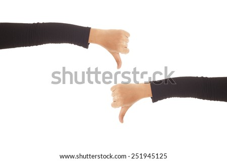 Thumb down female hands on a white background. - stock photo