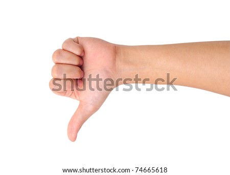 Thumb down hand sign isolated on white - stock photo