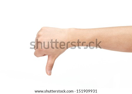 Thumb down hand sign isolated on white background. - stock photo