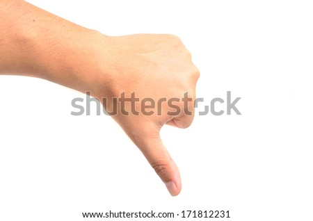 Thumb down hand signs isolated on white with a copy space