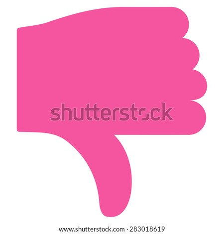 Thumb down icon from Basic Plain Icon Set. Style: flat symbol icon, pink color, rounded angles, white background. - stock photo