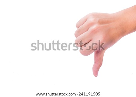 Thumb down in isolated background. - stock photo