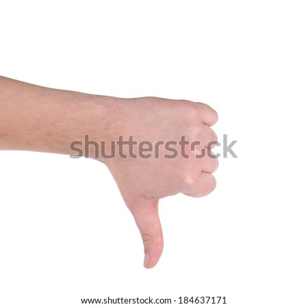 Thumb down male hand sign. Isolated on a white background. - stock photo