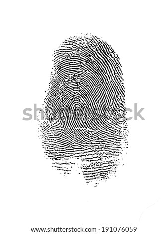 Thumb Print over White - stock photo