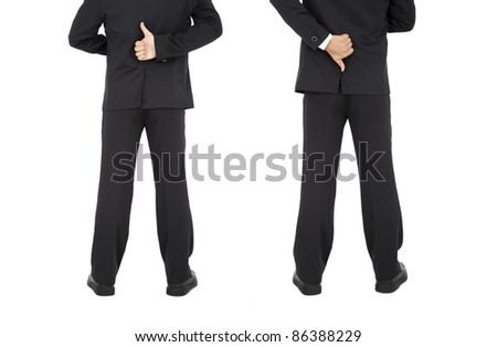 thumb up and down hand signs of businessman hand - stock photo