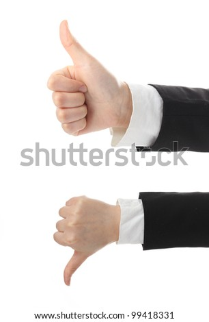 Thumb up and down, isolated on white - stock photo