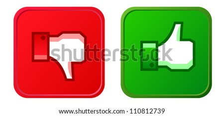 Thumb up and thumb down button - stock photo