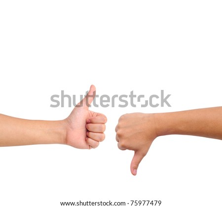Thumb up and thumb down hand signs isolated on white with a copy space - stock photo