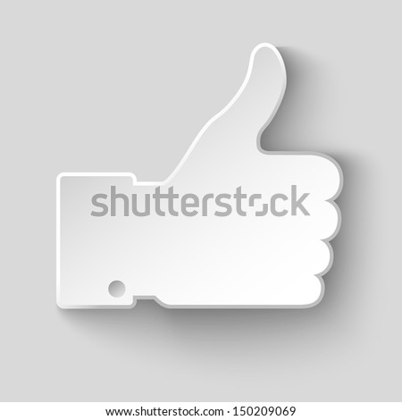 thumb up applique, raster illustration  - stock photo