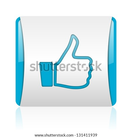 thumb up blue and white square web glossy icon
