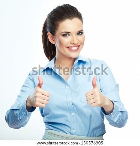 Thumb up. Business woman isolated white background. Female model. - stock photo
