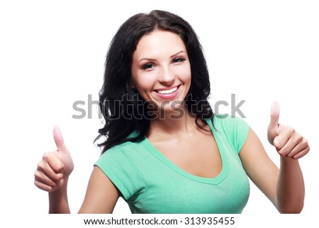Thumb up. Business woman isolated white background. Female model.