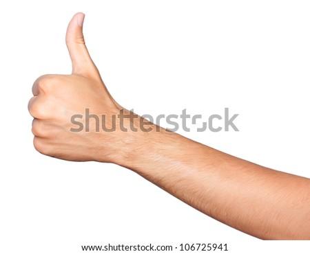 Thumb up. Closeup of man's hand with thumb up expressing success - stock photo