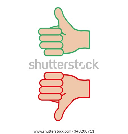 Thumb up down hand on a white  background