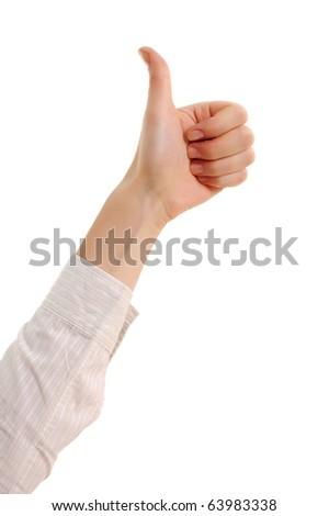 thumb up female isolated on white background - stock photo