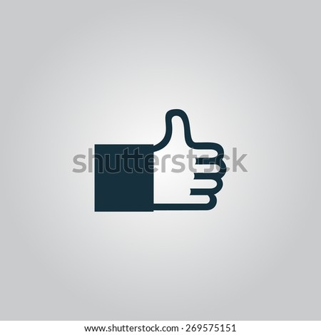 Thumb up. Flat web icon, sign or button isolated on grey background. Collection modern trend concept design style illustration symbol - stock photo