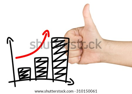 Thumb up for approving growth bar graph on clear glass whiteboard - stock photo