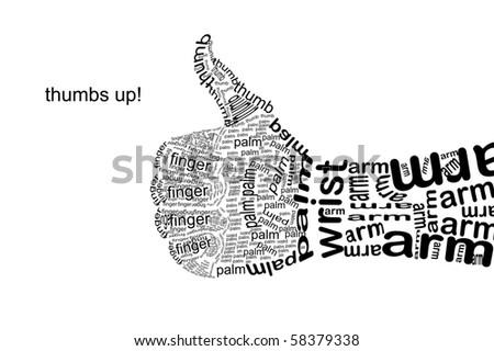 Thumb Gesture Hand Made Text Symbols Stock Illustration 58379338