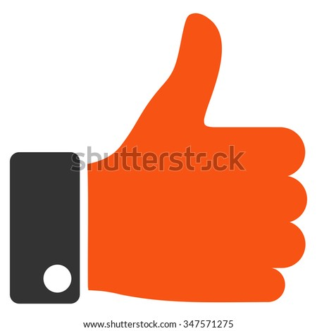 Thumb Up glyph icon. Style is bicolor flat symbol, orange and gray colors, rounded angles, white background. - stock photo