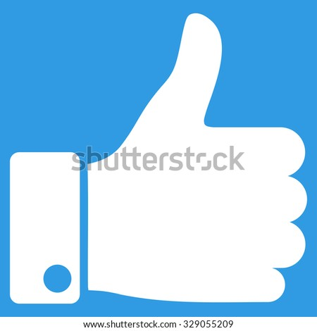 Thumb Up glyph icon. Style is flat symbol, white color, rounded angles, blue background. - stock photo