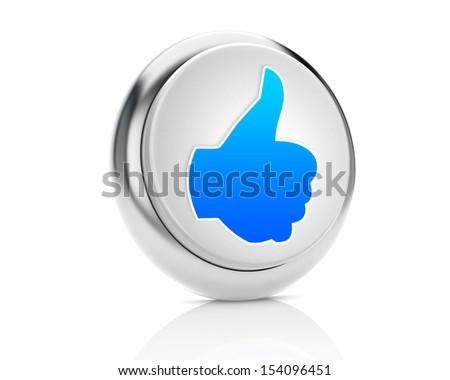 thumb up good social media share 3d symbol icon button - stock photo