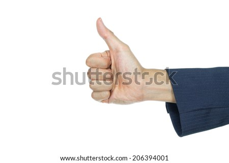 Thumb up hand gesture of businessman on white background. Good sign or good symbol of hand sign. - stock photo