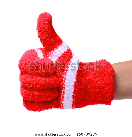 Thumb Up. Hand in Knitted Red Gloves isolated on white background - stock photo