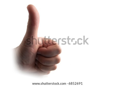 Thumb up hand isolated on white - stock photo