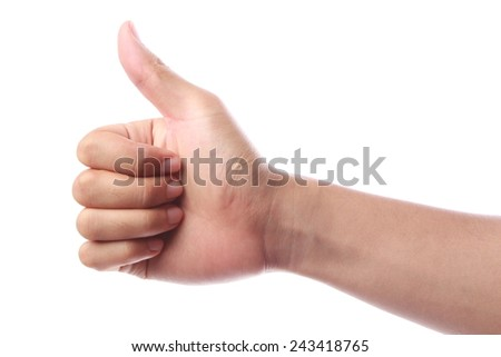 Thumb up hand isolated on white background. - stock photo