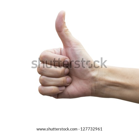Thumb up hand on white background (with clipping path) - stock photo