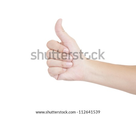 Thumb up hand sign on white background