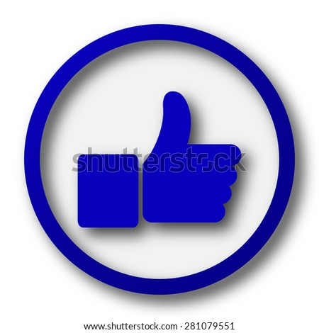 Thumb up icon. Blue internet button on white background.