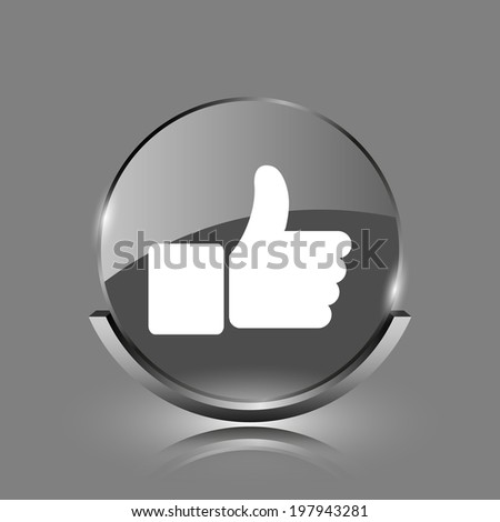 Thumb up icon. Shiny glossy internet button on grey background.