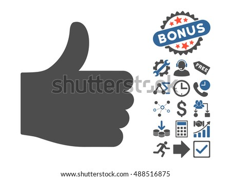 Thumb Up icon with bonus design elements. Glyph illustration style is flat iconic bicolor symbols, cobalt and gray colors, white background.