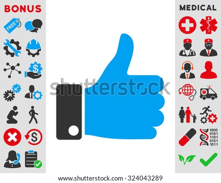 Thumb Up illustration icon. Style is bicolor flat symbol, blue and gray colors, rounded angles, white background.