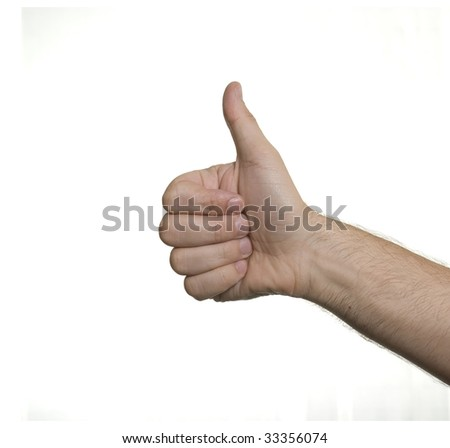 Thumb up isolated on white ( caucasian human hand )