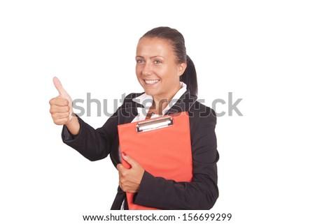 thumb up lady - stock photo